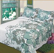 3PC Bedspread Coverlet White w/ Teal, Sage & Blue Flowers, Microfiber Queen King