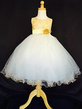 Flower Girl Bridesmaids Easter Wedding Ivory Tulle Lace Dress
