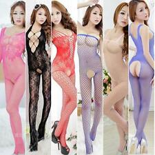 Lady Hanging Hollow Lace Crotchless Pantyhose Lingerie Jumpsuit Stockings DHUS