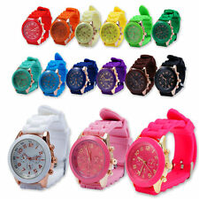 Unisex Geneva Silicone Golden Crystal Stone Quartz Jelly Wrist Watch