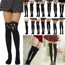 New Sexy Women Tattoo Socks Cute Sheer Pantyhose Mock Tights Stockings Black