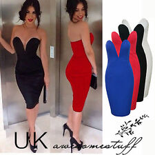 Womens Celeb Sexy V Neck backless Club Strapless Bodycon Party Evening Dress