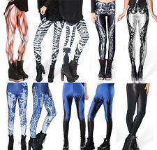 Sexy Women lady Skull Gothic Skeleton Muscle Printed Leggings Bottom Thigh Pants