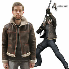 RE4 RESIDENT EVIL 4 LEON KENNEDY'S Faux Pleather Fur Brown Jacket