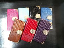 LIZARD diamond crystal Leather Flip Wallet Case Cover iPhone 4 4s 5 5s 6 6+ 6s