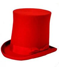 Steampunk-Victorian-Edwardian-Gothic-Cosplay-Whitby-RED STOVE PIPE HIGH TOP HAT