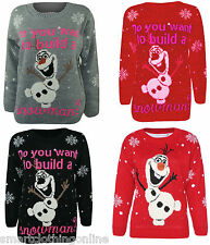 NEWS ADULTS LADIES FROZEN OLAF CHRISTMAS XMAS JUMPERS RED BLACK GREY S/M - M/L