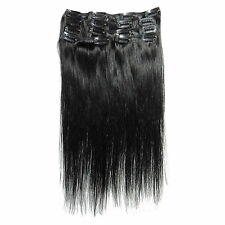 """Black #1 15"""" 18"""" 20"""" 22"""" 24""""Clip in Clip on Human Hair Remy Hair Extensions"""