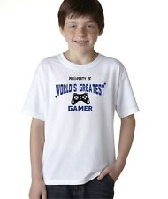 Property Of World's Greatest Gamer Funny Video Games T-Shirt for Kids Boys Tee
