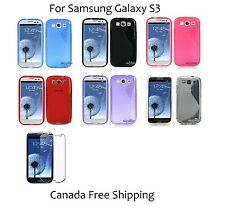 Black TPU S Shape Soft Case Cover for Samsung Galaxy S3 SGH-I747M + Protector