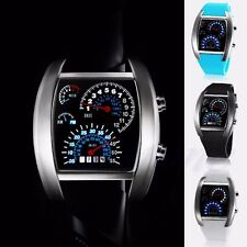 Blue Flash LED Men RPM Turbo Sports Car Meter Dial Watch Wristwatch