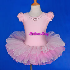 Girl Puff Sleeves Pink Ballet Tutu Dance Costume Fairy Dress Up Size 3T-8 BA048