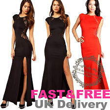 UK Formal Long Lace Women Bodycon Prom Evening Party Cut Out SideSlit Maxi Dress