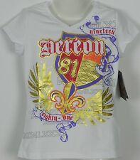 Beyonce Girls t shirt sz 6 White with Gold Foil & Diamonte Dereon Brand Diva USA