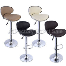 SET of (2) Bar Stools Leather Modern Hydraulic Swivel Dinning Chair Barstools