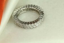 STERLING SILVER VINTAGE STYLE 2 ROW SOLID PAVE CZ ROUND ETERNITY BAND RING SZ5-9
