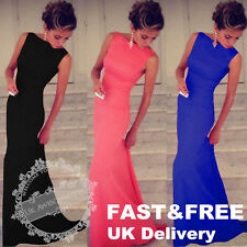 UK Sexy Womens Sleeveless Prom Ball Cocktail Party Dress Formal Evening Gown