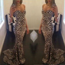 Vintage Women Long Prom Ball Cocktail Party Dress Formal Evening Gown Leopard