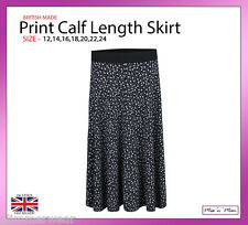 New Ladies Women Pull On Floral Skirt/ Contrast Waistband Plus Size 12-24 Summer