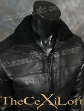 $795.00 ELIE TAHARI Black Leather Coat Jacket with Sherpa Collar size Small