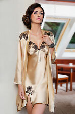 Stunning Champagne Satin Robe / Dressing Gown  Sizes Small - XLarge