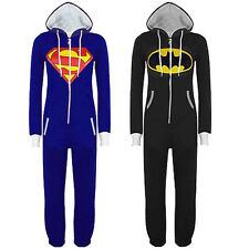 Mens Womens Unisex Batman Superman Hooded Zip Jumpsuit Onesie Playsuit All In On