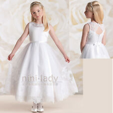 Applique White Christening Bridesmaid Wedding Dance Pageant Flower Girl Dresses