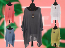 NEW Italian Long Sleeve Soft Touch Oversize Lagenlook Pocket Tunic Top