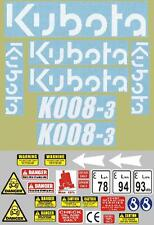 Decal Sticker set for: KUBOTA K008. Mini Micro Digger / Pelle / Autocollant