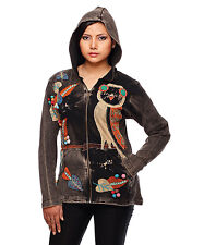 NEW RISING INTERNATIONAL Patchwork Embroidered Owl Zip-Up Hoodie Jacket S M L XL