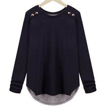 Women Nautical Tops StretchTunic Crew Neck Button Down Tee T-Shirt Career Blouse