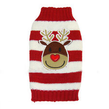 Reindeer Pet Puppy Cat Dog Sweater Striped Knit Coat Apparel Clothes Christmas