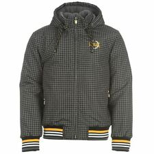 MENS CHARCOAL GREY DOGTOOTH CHECK EVERLAST BOXING GYM THICK WINTER JACKET COAT