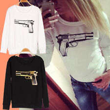 New Style 3D Gun Print Women Hoodies Long Sleeve Loose Sweatshirts Tops Blouse