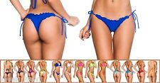 ADIVINA S M L XL MULTI-COLOR RUFFLED ADJ SIDE TIE TINY MINI BIKINI THONG BOTTOM