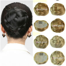 Womens Ladies Trendy Clip-on Synthetic Hairpiece Dish Hair Bun Contract Tail Wig