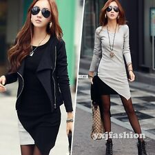 Winter Fall Women Long Sleeve Patchwork Bandage Cocktail Party Casual Mini Dress