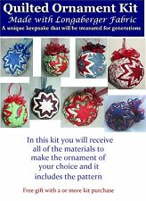 Quilted Ornament Kit, Longaberger Fabric, Pins, Ribbon, styrofoam ball, Pattern