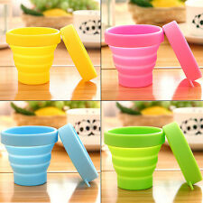 Silicone Folding Cup Telescopic Collapsible Lid Sport Outdoor Travel Camping