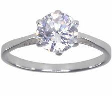 Cubic Zirconia Solitaire 7mm Round Sparkling Sterling Silver Ring