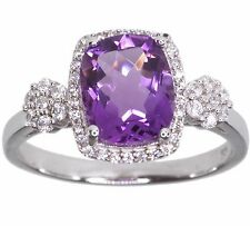 Amethyst Gemstone Baguette & Micro Pave Sparkling Sterling Silver Ring