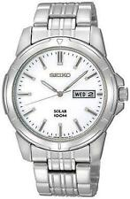Seiko SNE091P1 SNE093P1 Solar 100mwr Stainless Steel Day/Date Watch  RRP £139