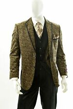 Men's 3 Piece High Fashion Paisley Design Modern Fit Suit Style HPS282V Taupe