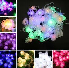5M/10M LED Pine Cone String Fairy Light Christmas Tree Party Decor 6 Color US50