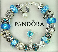 authentic pandora silver charm bracelet with charms BEACH dolphin starfish ocean