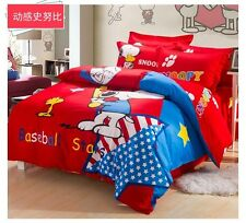 *** Baseball Star Snoopy Queen Bed Quilt Cover Set - Flat or Fitted Sheet ***