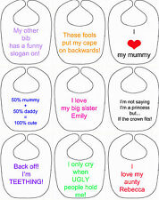 personalised baby bib slogan any text gift baby toddler boy girl teething custom