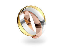 9ct 3 Colour Gold 4mm Russian Wedding Ring. Sizes F-Z