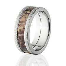 Realtree AP Camo Bands, Tree Bark Camouflage Wedding Ring, Camo Rings