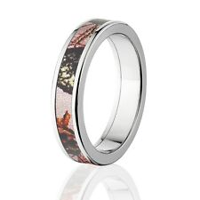 Camo Rings, Womens Camo Wedding Bands, Licensed Mossy Oak Pink Break Up Rings